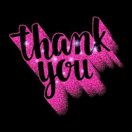 Decorative illustration with pink glitter texture for your blog design on chalkboard dark background. Ilustração