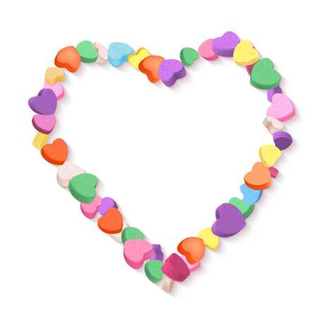 pastel like: Colorful Hearts Candy frame for Valentines Day. Illustration
