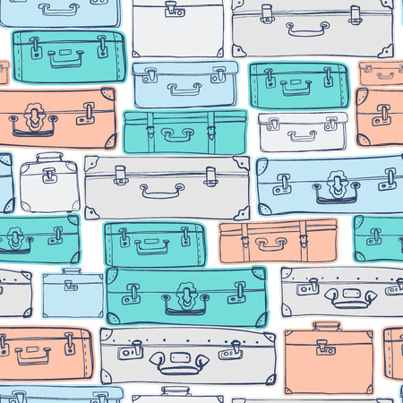 Seamless pattern with hand drawn luggage.