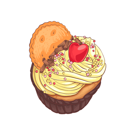 chocolate swirl: Decorative illustration for your design. Tasty dessert with cream, cookie and candy heart on light background.