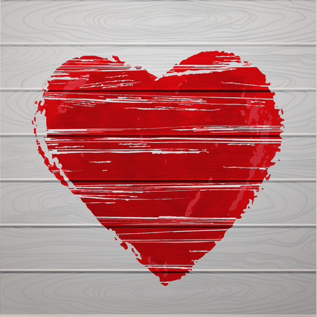 hearty: Textured red heart on wooden background.
