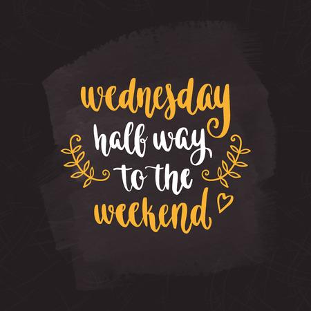 Week dagen motivatie citaten. Woensdag. Vector Illustratie