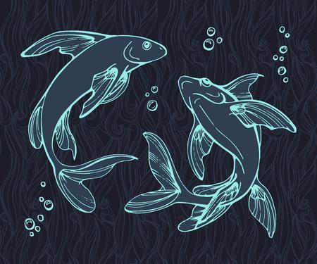 fishes: Stylized fishes. Illustration