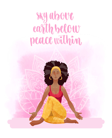 young asian girl: Young woman in yoga pose Illustration