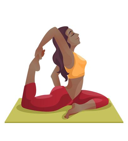 Cartoon girls in asana on yoga mat.