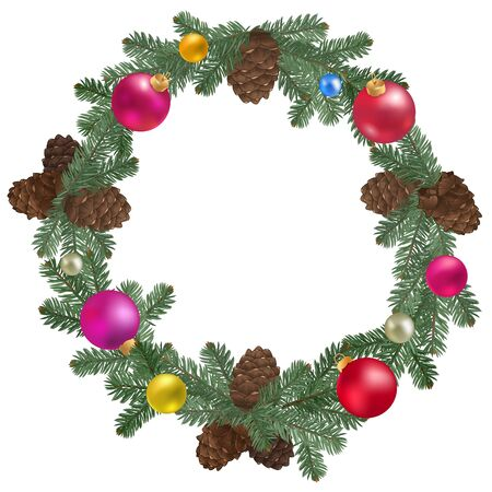 new years: Merry Christmas wreath. New year decoration and pine branches Stock Photo