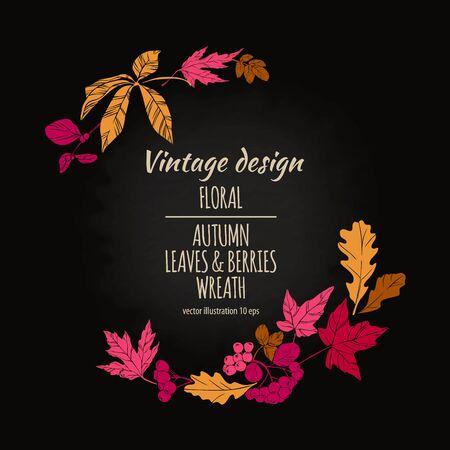vintage postcard: Autumnal round frame. Floral plant botany elements. Colorful vector hand drawn illustration on dark chalkboard background for design greeting card or Invitation. Stock Photo