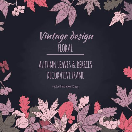 autumn background: Autumnal decorative floral plant botany elements. Colorful vector hand drawn illustration on dark chalkboard background for design greeting card or Invitation.