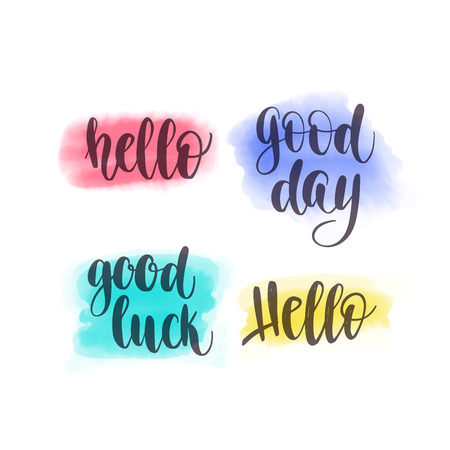 Hello, Good day, Good luck Vector hand lettering