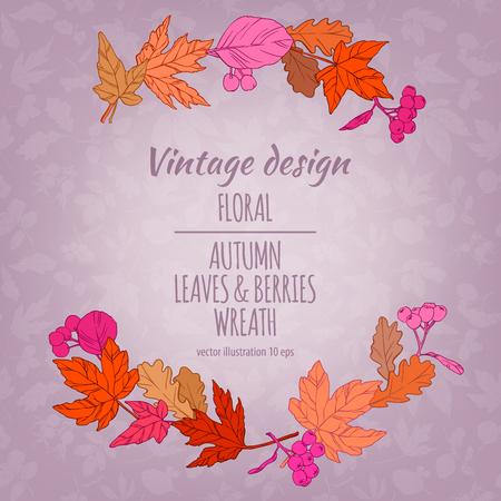 vintage postcard: Autumnal round frame