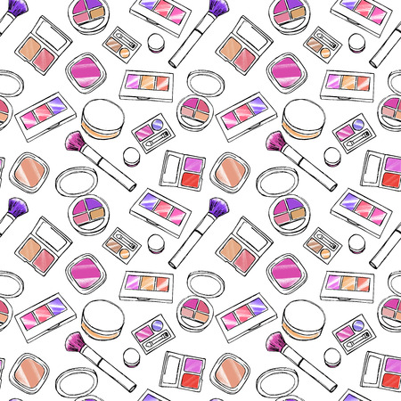 Hand drawn colorful cosmetic elements Illustration