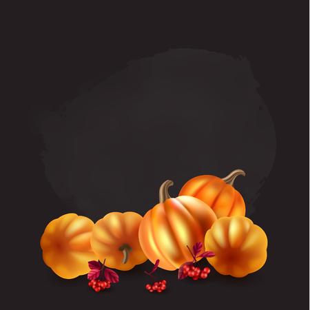Autumn leaves, berries and pumpkins design