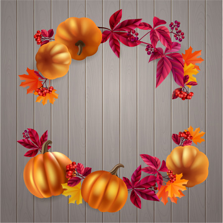 holiday shopping: Autumn leaves, berries and pumpkins design