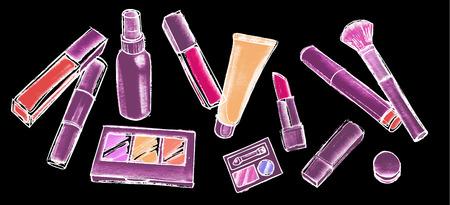 Concept for beauty salon and visage. Vector illustration on chalkboard background.