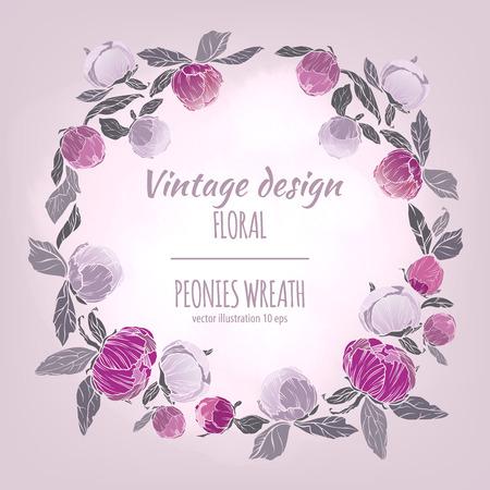vintage postcard: Pink, burgundy red and violet flowers wreath. Vector design card. Botanical style frame with floral plant botany element on light background. Illustration