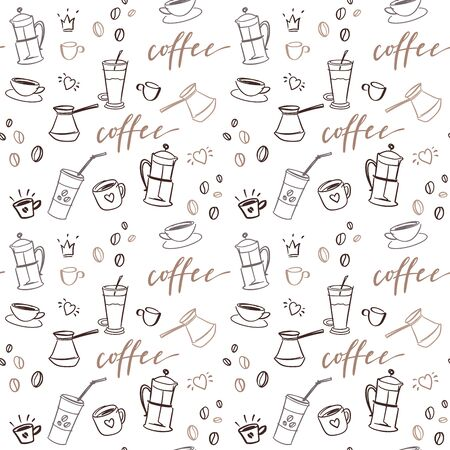 Background with beverages dishes line art and calligraphy on white background.