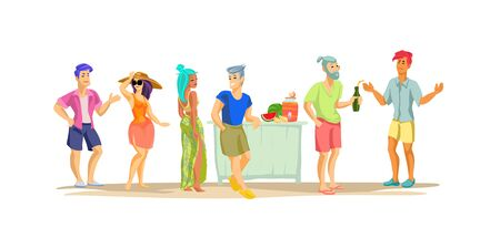 Beach party. Modern colorful vector flat design illustration on white background.