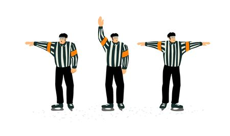 Set of Hockey referee images with some penalty signals. Cartoon characters. Vetores