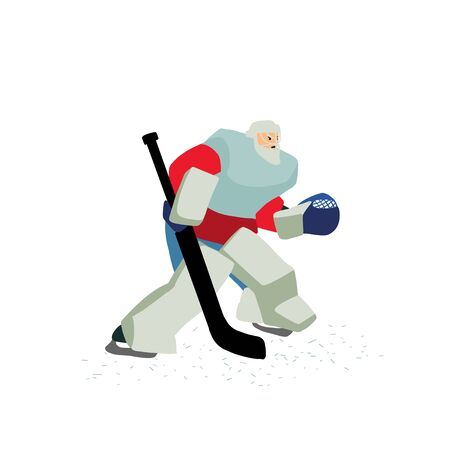 Goalkeeper preparing to catch the puck. Isolated cartoon character.