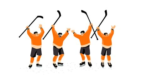 Ice hockey players celebrate the victory. Team holding sticks above their heads.