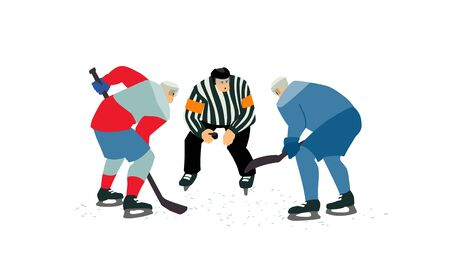 Two ice hockey players going for the puck. Referee holding a puck in face off position.