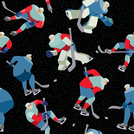 Ice Hockey seamless hand drawn pattern players and lettering.