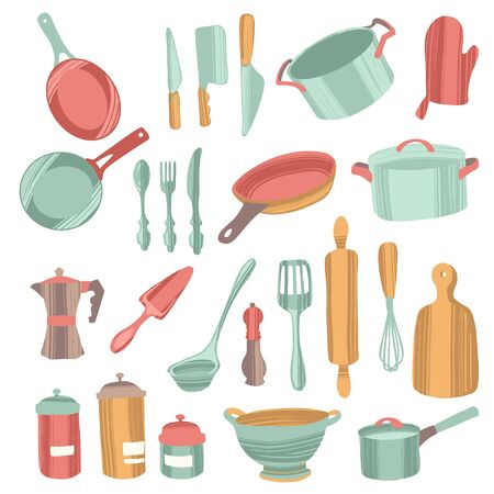 Set of kitchenware and utensils hand drawn vector illustrations.