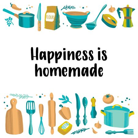 Handwritten lettering cooking quote and hand drawn kitchenware and utensils.
