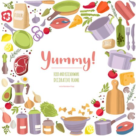 Kitchen tools and healthy food decorative frame.