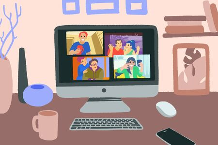 Chatting with friends or family online. Virtual party, meet up, video conference.