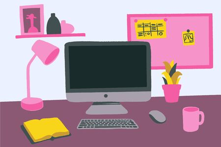 Modern workspace vector set with computer desktop, lamp, diary, books, frames and accessories on table.