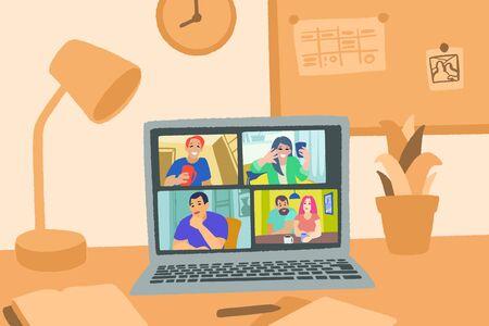 Chat vidéo en ligne. Communication Internet pendant la quarantaine.