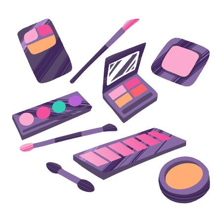 Hand drawn cosmetics set. Professional makeup powder, blush, eyeshadow and brushes.