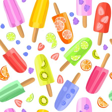 Hand drawn colorful ice cream seamless pattern background. Illustration