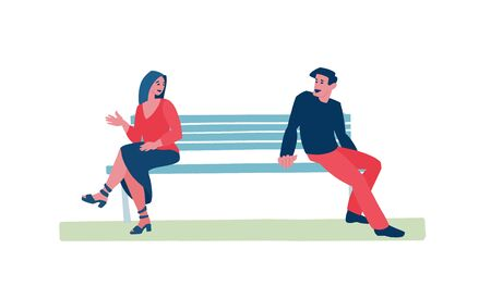 Couple on the bench in city park, comfortable public space or nature place.