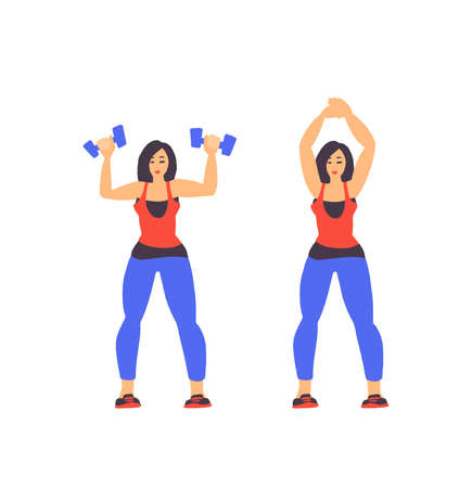 Sport Exercise. Fitness workout exercise young woman.  イラスト・ベクター素材