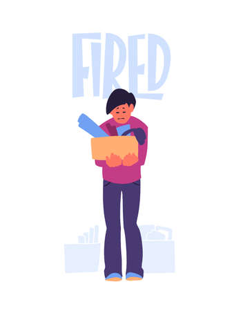 Unemployed man with box of belongings. Employee got fired.  イラスト・ベクター素材