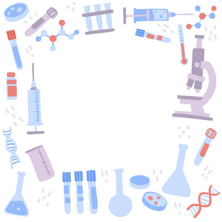 Microscope, chemistry flask, syringes and lab tools. Flat hand drawn vector illustration.
