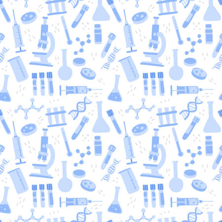 Microscope, chemistry flask, syringes and lab tools. Flat hand drawn vector illustration on white background.  イラスト・ベクター素材