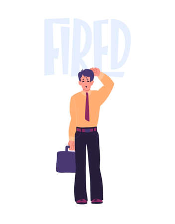 Dismissal. Office worker lost job. Upset, frustrated cartoon character. Jobless young guy. Flat hand drawn cartoon vector illustration.