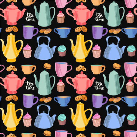 Kitchen seamless pattern of decorative colorful cups, mugs, teapots, cookies and cupcakes.