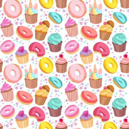 Yummy colorful donuts, cookies and cupcakes. Hand drawn seamless pattern on white background. 写真素材