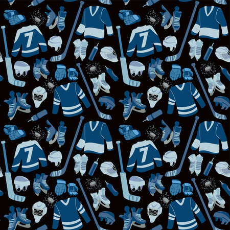 Ice Hockey seamless hand drawn pattern. Puck, equipment of hockey player with hockey-stick.