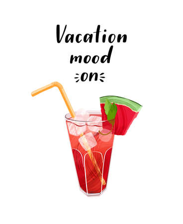 Seasonal composition with travel vacation quote and cocktail on white background. 写真素材