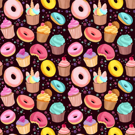 Yummy colorful donuts, cookies and cupcakes. Hand drawn seamless pattern on dark background.