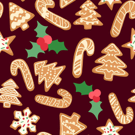 Christmas and New Year decorative vector seamless pattern.