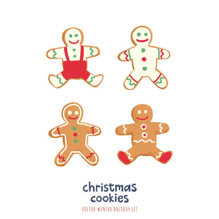 Christmas Gingerbread Cookies Set. Vector illustrations with traditional holiday pastry. Vector Illustration