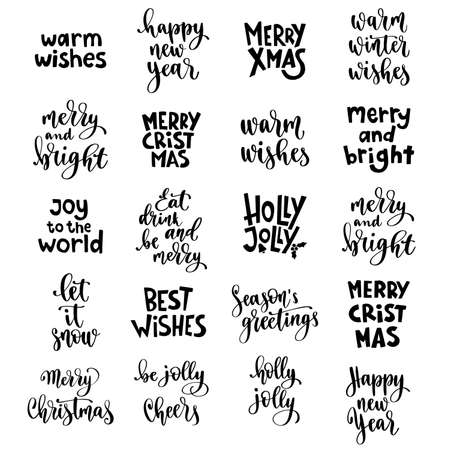 Christmas and Happy New Year quotes, holidays winter lettering set.