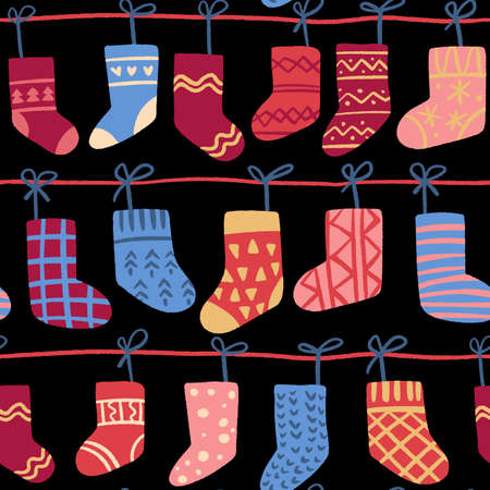 Decorative vector seamless pattern with Christmas socks.