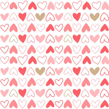 Seamless pattern for Happy Valentines Day celebration with holiday symbols. Illustration